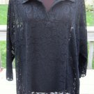 Ladies Fancy Black Flower Lace Top Shirt Blouse Size 2X