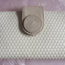 Designer Liz Claiborne Wallet Tan Beige Leather Trim Vintage