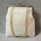 Beaded Purse Handbag Vintage 1950's Cream Color Handmade In Hong Kong