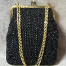 Black Beaded Purse Handmade In Hong Kong Vintage 1950's