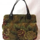 Designer Handbag Relic Leather Purse Flower Pattern Soft Cord