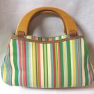 Wooden Handle Colorful Striped Green Purse Handbag Sonoma Lifestyle