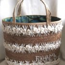 Bahamas Large Fancy Vintage Natural Straw Handbag Purse For Beach Pool