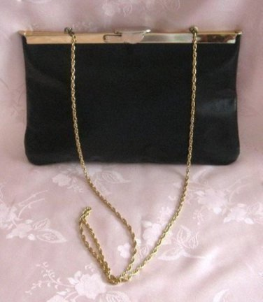 Vintage Black Leather Open Hinged Handbag Clutch Purse Unique Style