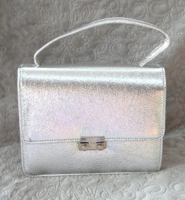 Flashy Fancy Silver Metallic Handbag Purse Vintage 80's