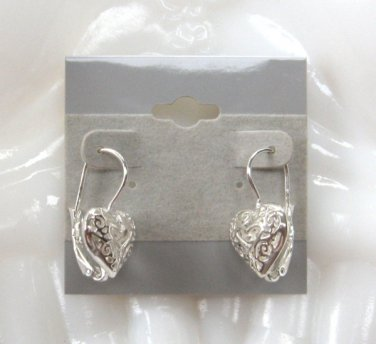 Designer Sterling Silver Puffed Heart 925 SU Leverback Pierced Earrings
