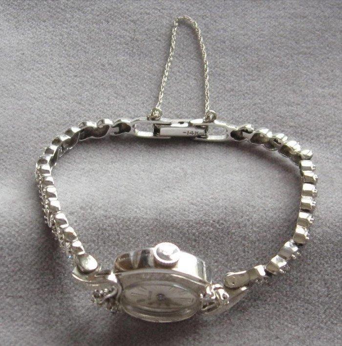 Ladies 14K White Gold Diamonds Wrist Watch Designer Vintage Lecoultre