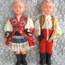 German Swedish Dolls Foreign Garb Vintage Pair Set Boy & Girl