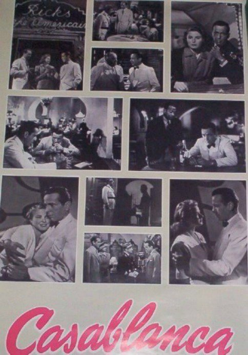 Casablanca Movie Poster Humphrey Bogart Ingrid Bergman Vintage 1988