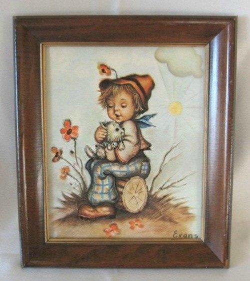 Hummel Boy Child Print In Wooden Frame 12x10 Signed Evans Vintage