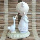 Precious Moments Enesco Make A Joyful Noise Figurine 1978 Jonathan & David Little Girl & Goose