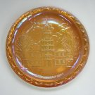 Vintage Amber Gold Independence Hall Carnival Glass Collectible Plate Indiana Glass Co. 1976