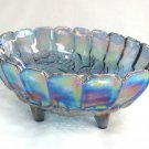 Large Oval Vintage Indiana Glass Blue Carnival Glass Bowl Fruit Pattern