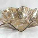 Large Fluted Gold Flower Glass Bowl Vintage Retro 1950s
