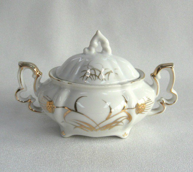 Vintage Lefton China Sugar Bowl With Lid Gold Wheat Pattern Hand Painted 1950's