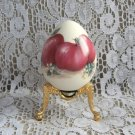 Porcelain Egg Handpainted Apples Fancy Gold Stand Collectible
