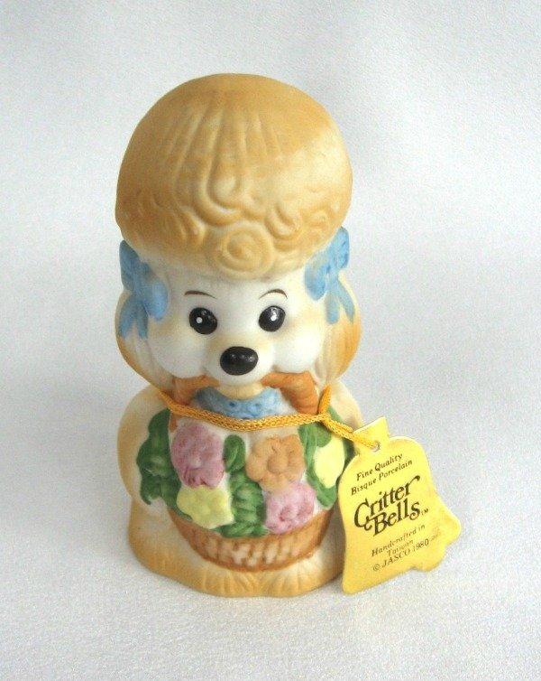 Critter Bells Poodle Puppy Dog Porcelain Bell Vintage 1980 Jasco Handcrafted