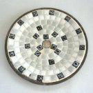 Vintage Handmade Mosaic Tile Dish Trivet Dime Coin Center OOAK