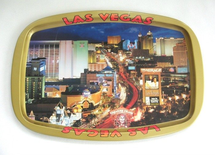 Serving Tray Snacks Beverage Las Vegas Nevada Vintage Hong Kong
