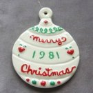 Handmade Ornament Merry Christmas 1981 Ceramic Holiday