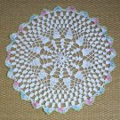Vintage Crocheted Doily Colored Edges Scalloped 1950s