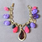 Vintage Chunky Style Colorful Charm Bracelet Retro 1960's