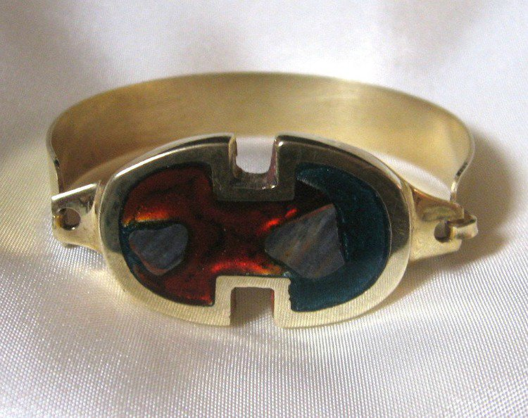Red And Blue Brass Bracelet Vintage Retro 1970's