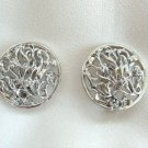 Vintage Large Flower Retro Silver Earrings Round