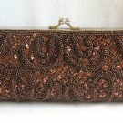 Vintage Brown Sparkly Beaded Sequin Purse Designer Exclusively Made For Agly's