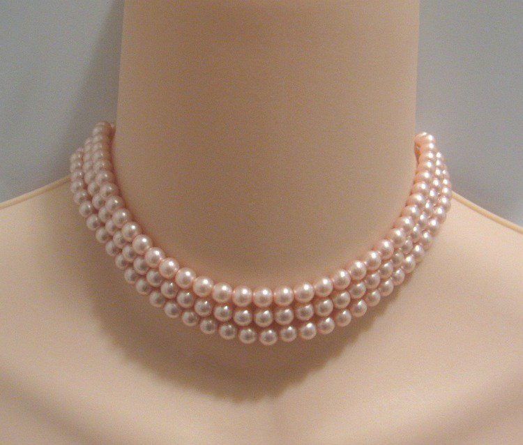 Pink Triple Strand Beaded Necklace Retro Vintage 1950's
