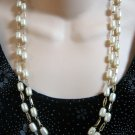 Vintage Long Barrel Shaped Pearl Bead Necklace Retro 50's