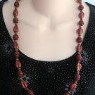 Maroon Burgundy Fancy Beaded Necklace Vintage Retro 60's