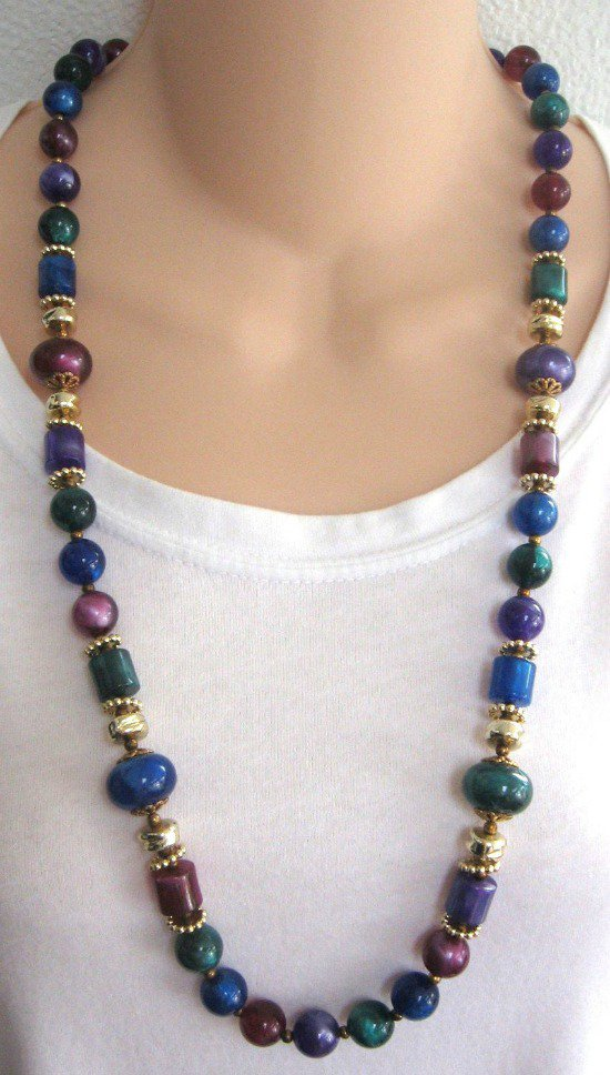 Beaded Necklace Colorful Lucite Fun Shapes Vintage