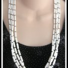 White With Black 4 Strand Vintage Beaded Necklace