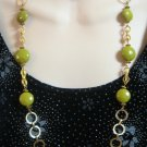 Vintage Green Bead Necklace Retro 1960's Gold Circle Links