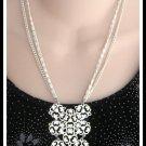 Large Retro Double Strand White Enamel Metal Pendant Necklace Vintage 60's