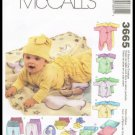 Infants McCall's Sewing Pattern Coveralls Top Bodysuit Pants Diaper Cover Blanket Booties All Sizes