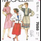 Vintage 1982 Misses Skirt & Top McCall's Sewing Pattern No. 7858 Size 12 Bust 34