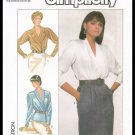 Misses Wrap Blouses Easy To Sew Simplicity Sewing Pattern No. 8390 Size 14 Vintage 1987