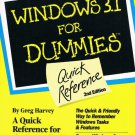 Windows 3.1 For Dummies Quick Reference 2nd Edition By Greg Harvey Softcover Book