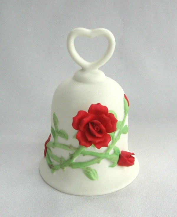 Enesco Red Rose Porcelain Ringing Bell Vintage 1989