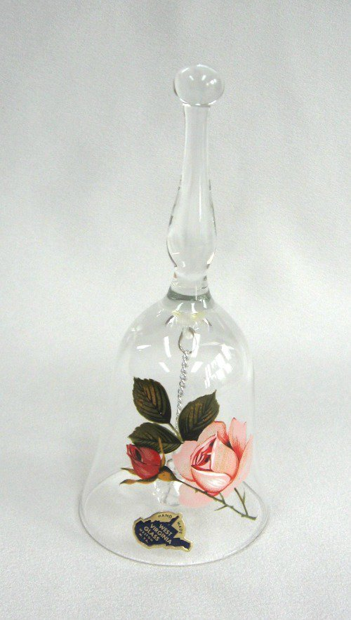 Vintage West Virginia Glass Rose Bell Hand Painted