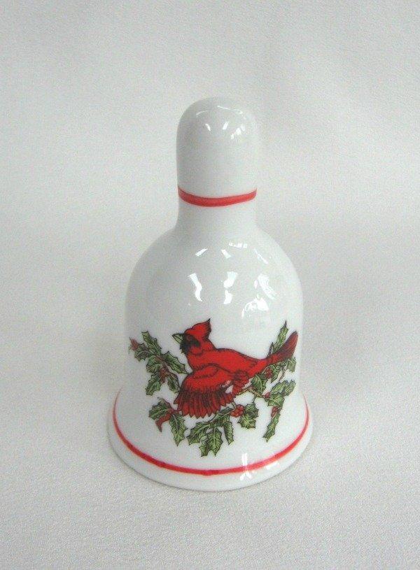 Cardinal Red Bird Vintage Ringing Bell Porcelain