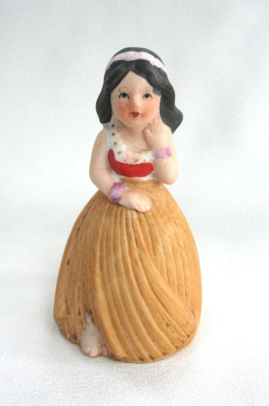 Porcelain Hawaiian Girl Bell Vintage JSNY Jeffrey Snyder New York Retro Figurine