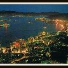 Vintage Postcard Hong Kong Bird's Eye View Tsimshatsui Kowloon At Night
