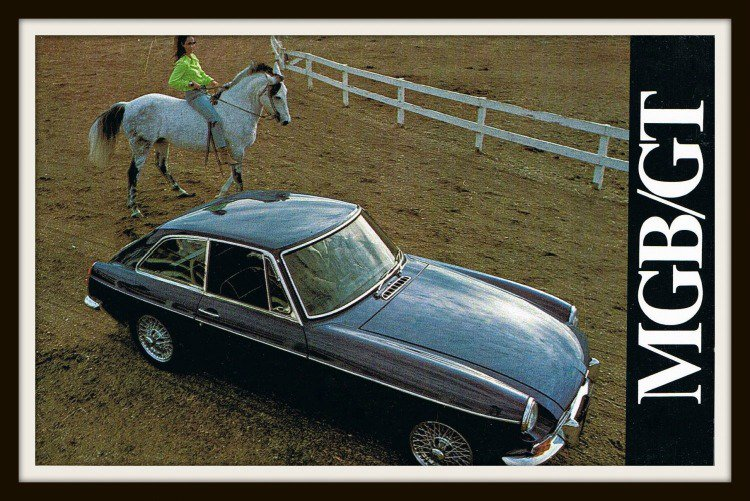 Classic British Sports Car MGB GT Vintage Postcard 1960s