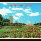 Vintage Postcard Greetings From Chicago Buckingham Fountain 1960's