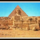 Vintage Postcard Egypt Giza The Great Sphinx Pyramid Of Kephre 1950s