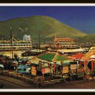 Vintage Postcard Night View Aberdeen Hong Kong Floating Restaurants 1950s