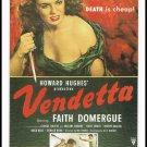 1950 Howard Hughes Vendetta Movie Poster Large Postcard Vintage 1989 The Great Trash Films